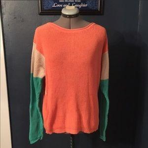 Light color block knit sweater